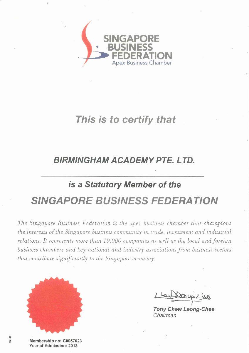 SBF Certificate 2013